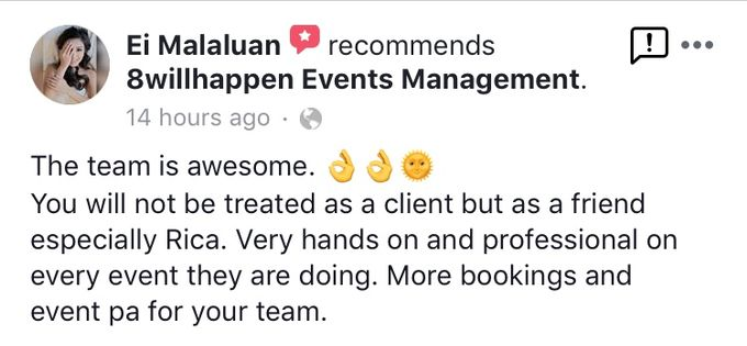 Client Appreciation and Feedback for 8willhappen Events Management by 8willhappen Events Management - 003