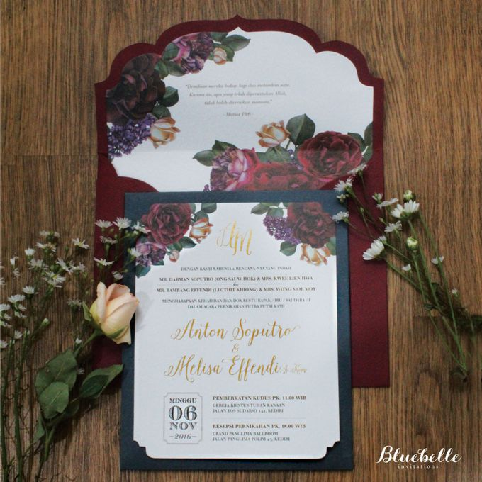 Anton & Melisa -  Classic Navy and Maroon Wedding Invitation by Bluebelle Invitations - 001