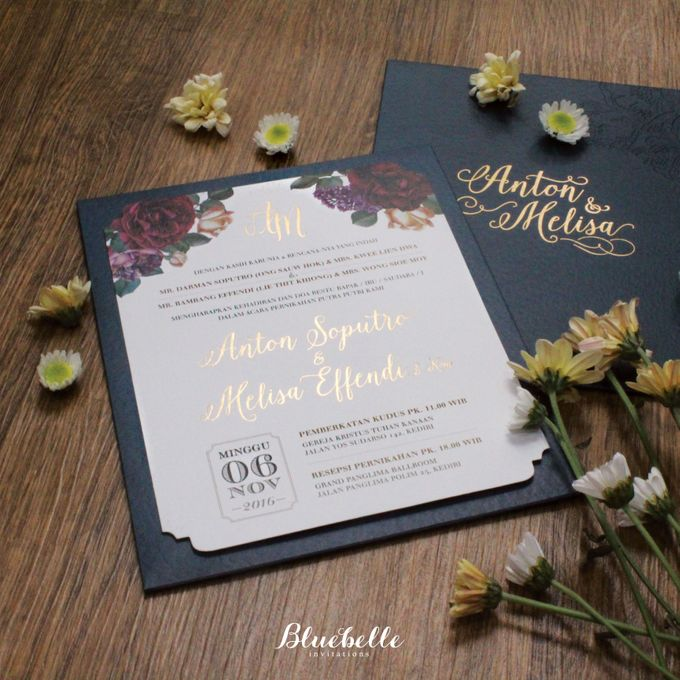Anton & Melisa -  Classic Navy and Maroon Wedding Invitation by Bluebelle Invitations - 003