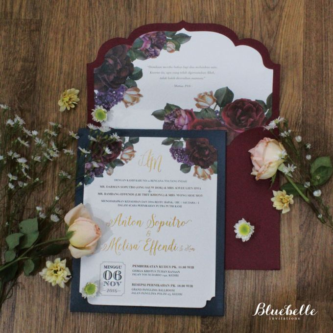 Anton & Melisa -  Classic Navy and Maroon Wedding Invitation by Bluebelle Invitations - 006