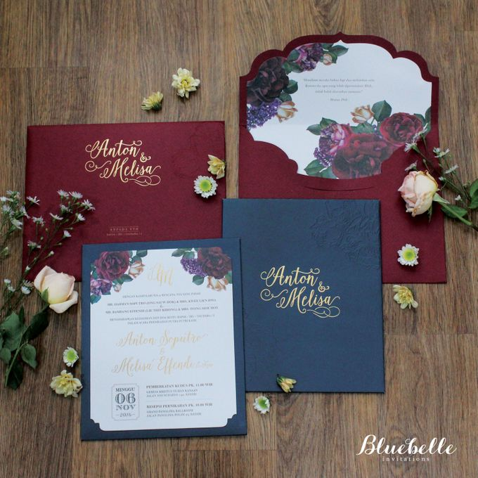 Anton & Melisa -  Classic Navy and Maroon Wedding Invitation by Bluebelle Invitations - 007