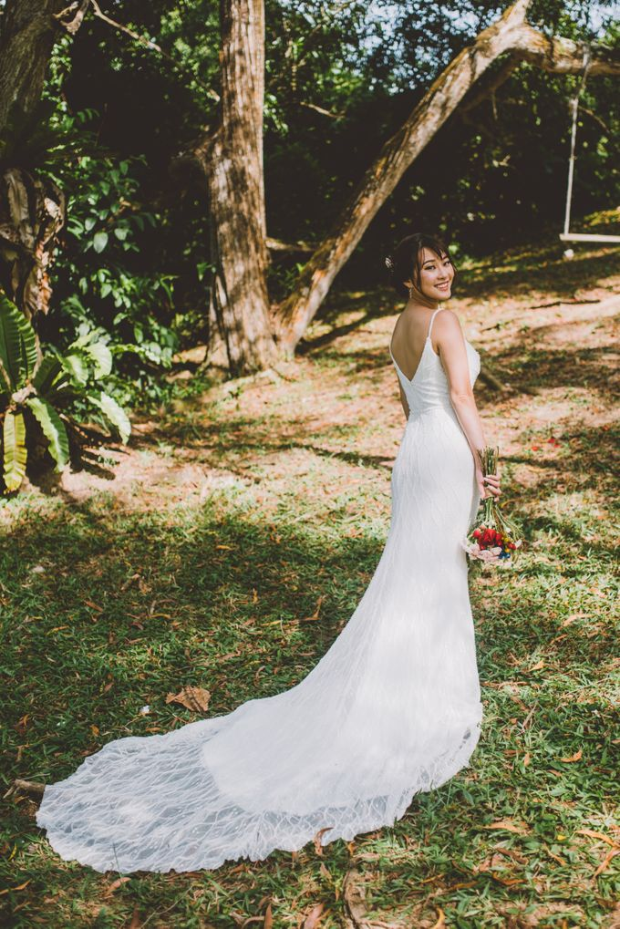 Hand beaded wedding dress with V neckline by Kelly's Bridals - 015