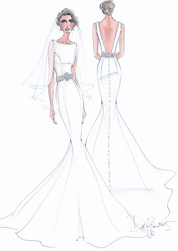 Custom frontal with back view bridal illustration by Illustrative Moments - 012