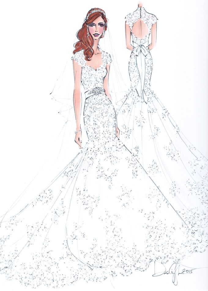 Custom frontal with back view bridal illustration by Illustrative Moments - 013