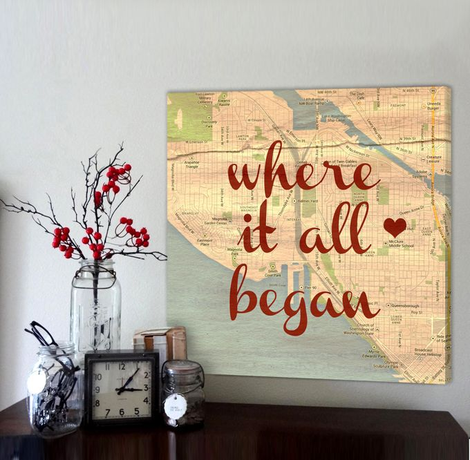 Vintage Map Customized with Places City Art Geographical Location 24X24 Canvas by Geezees Custom Canvas - 001