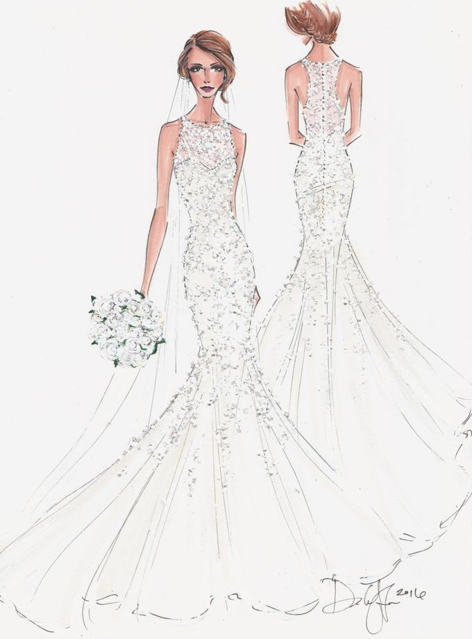 Custom frontal with back view bridal illustration by Illustrative Moments - 001