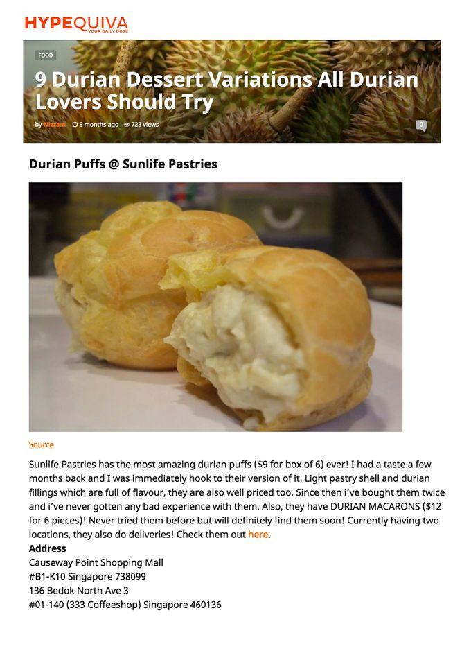 Media Mentions by Sunlife Pastries - 010