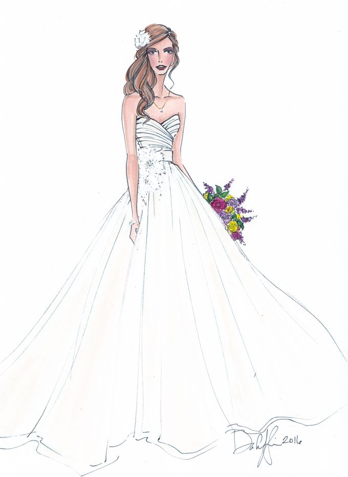 Custom frontals bridal illustration by Illustrative Moments - 003