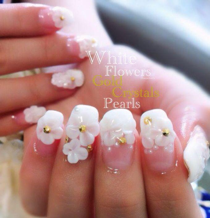 Bling and petals Bridal Nail Art by Home Nails - 006
