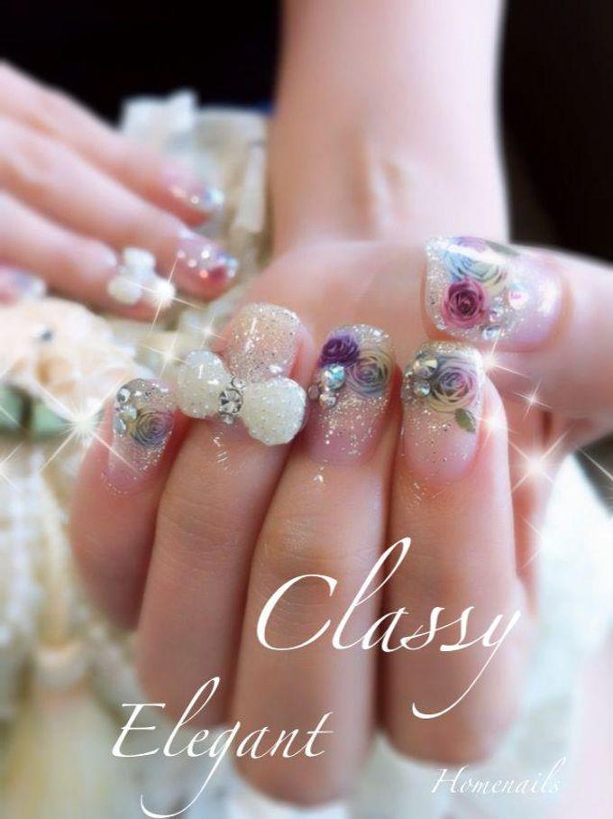 Bling and petals Bridal Nail Art by Home Nails - 008