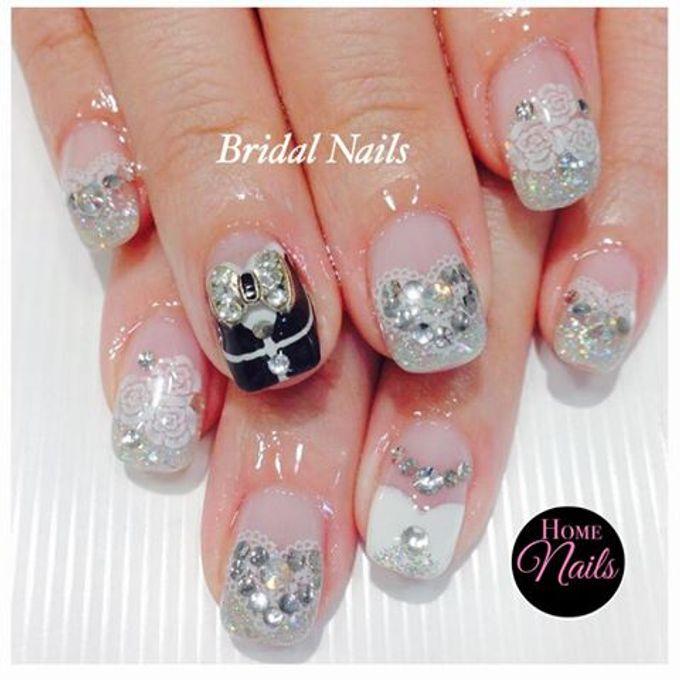 Bling and petals Bridal Nail Art by Home Nails - 003