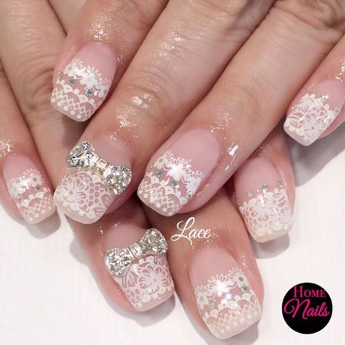 Ribbon and Flowers Bridal Nails by Home Nails - 003