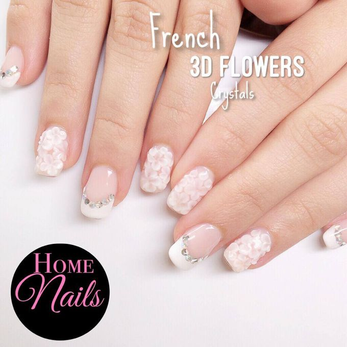 Ribbon and Flowers Bridal Nails by Home Nails - 002