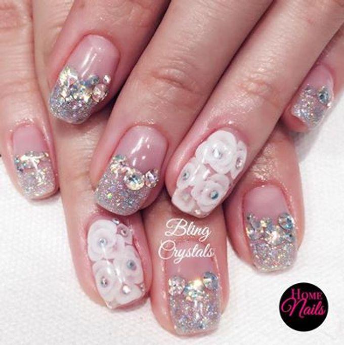 Bling and petals Bridal Nail Art by Home Nails - 002