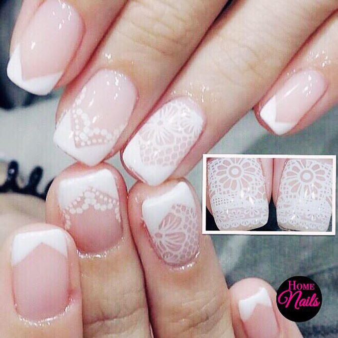 Ribbon and Flowers Bridal Nails by Home Nails - 005
