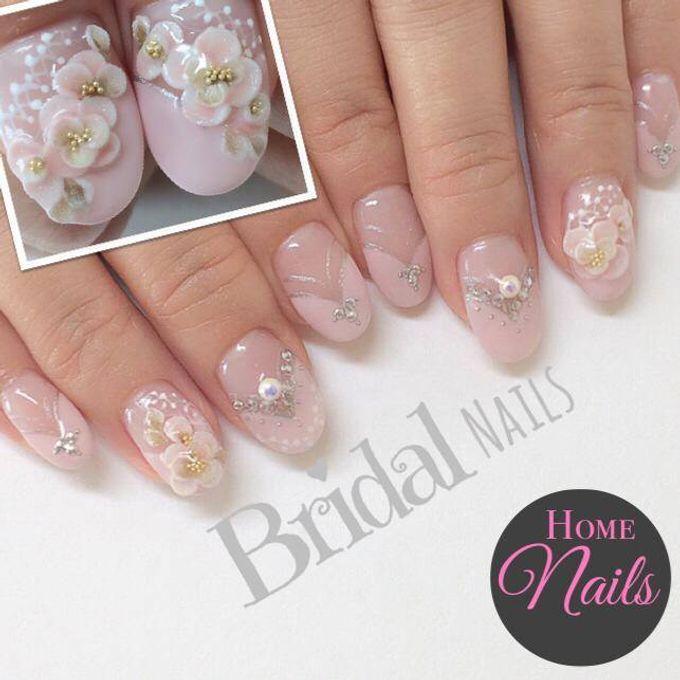 Bling and petals Bridal Nail Art by Home Nails - 004