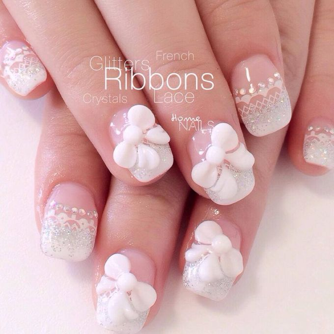 Bling and petals Bridal Nail Art by Home Nails - 005