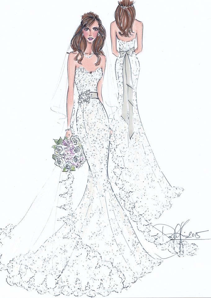 Custom frontal with back view bridal illustration by Illustrative Moments - 014
