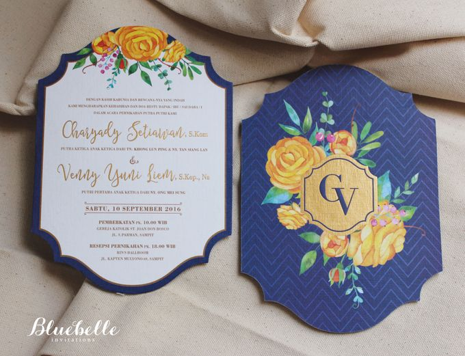 Charyady & Venny - Blue & Yellow Wedding Invitation by Bluebelle ...