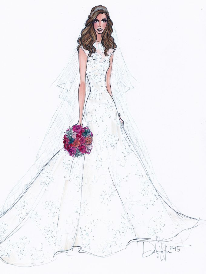 Custom frontals bridal illustration by Illustrative Moments - 007