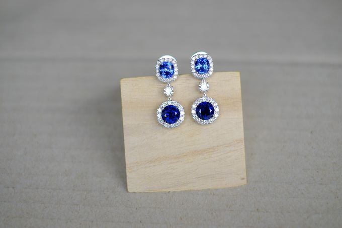 Bespoke Unheated Sapphire Wedding Earrings by Heritage Gems Singapore - 002