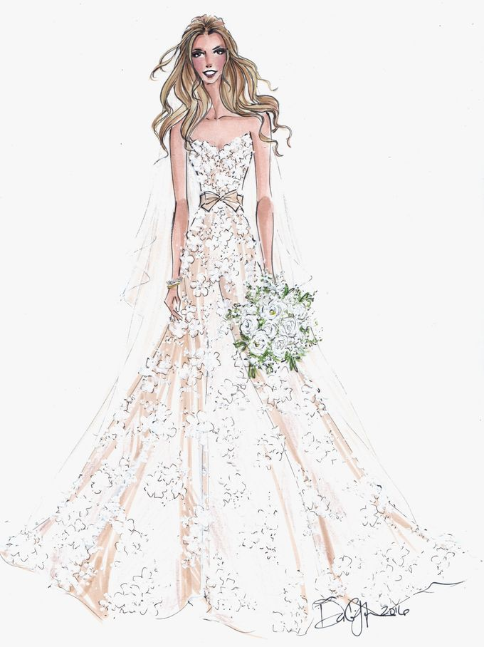 Custom frontals bridal illustration by Illustrative Moments - 001
