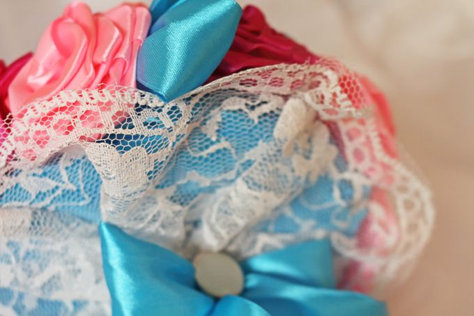 Mexicana Red Pink Fuchsia Blue Bridal Brooch Bouquet by Marini Bouquets - 005
