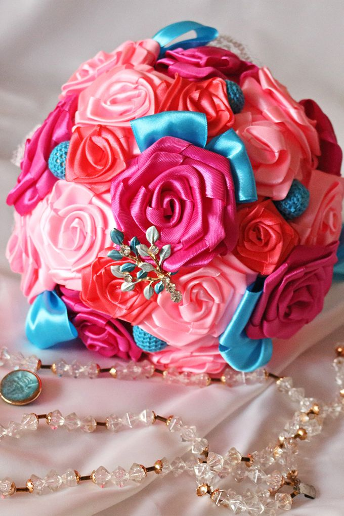 Mexicana Red Pink Fuchsia Blue Bridal Brooch Bouquet by Marini Bouquets - 001