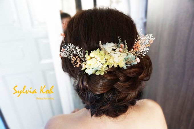 Actual Day Bridal Makeup and Hairstyling (Sharon + Zhi Xiong) - Romantic, Floral Bohemian Chic. by Sylvia Koh Makeup and Hairstyling - 003