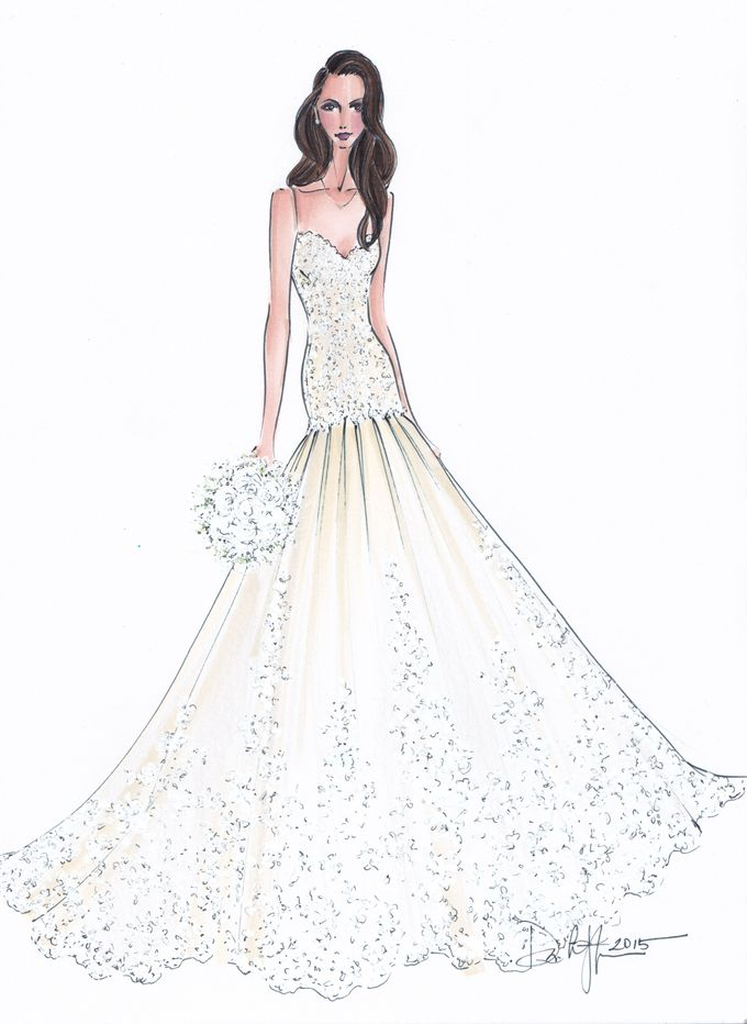 Custom frontals bridal illustration by Illustrative Moments - 025