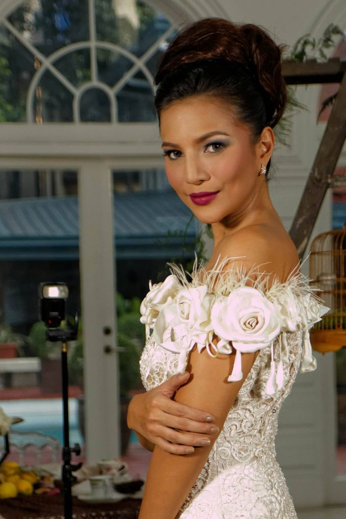 Delby Bragais - off shoulder bridal gown by Delby Bragais Bridal - 001