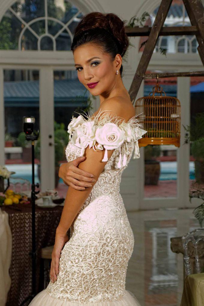Delby Bragais - off shoulder bridal gown by Delby Bragais Bridal - 002