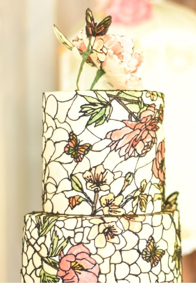 Three Tier Hand Painted Stained Glass by Ivoire Cake Design - 002