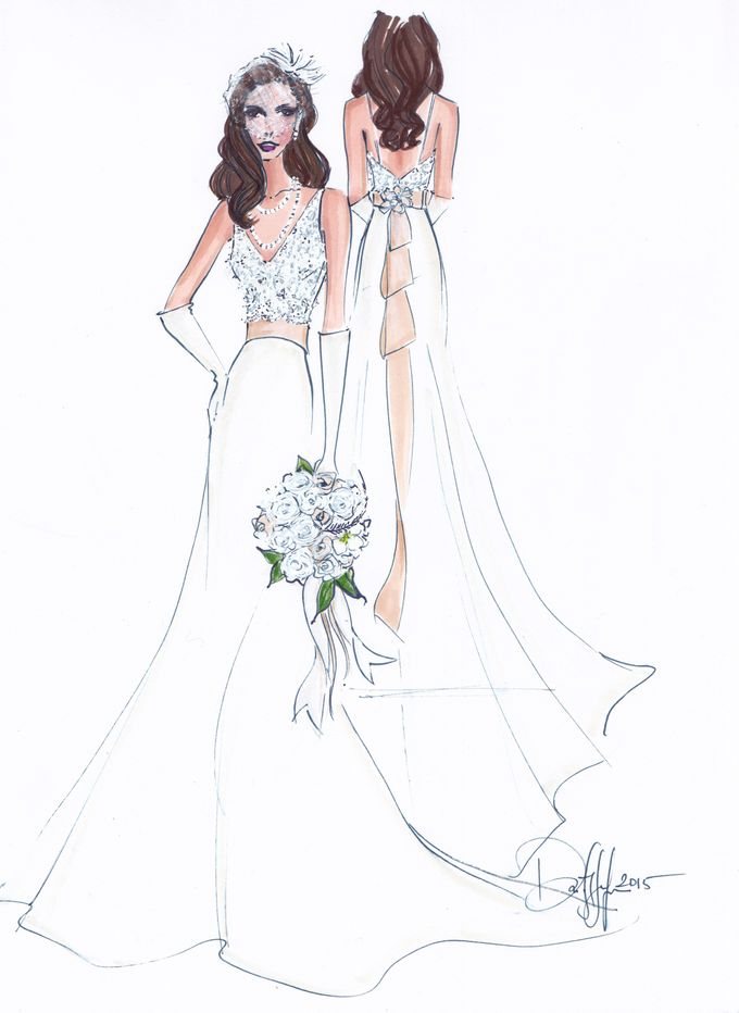Custom frontal with back view bridal illustration by Illustrative Moments - 018