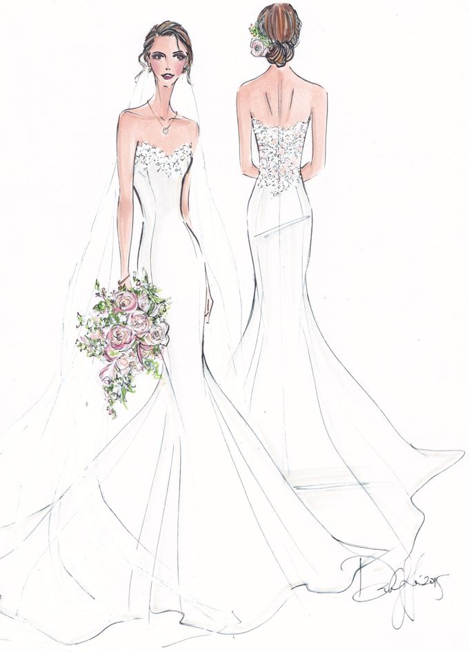 Custom frontal with back view bridal illustration by Illustrative Moments - 009