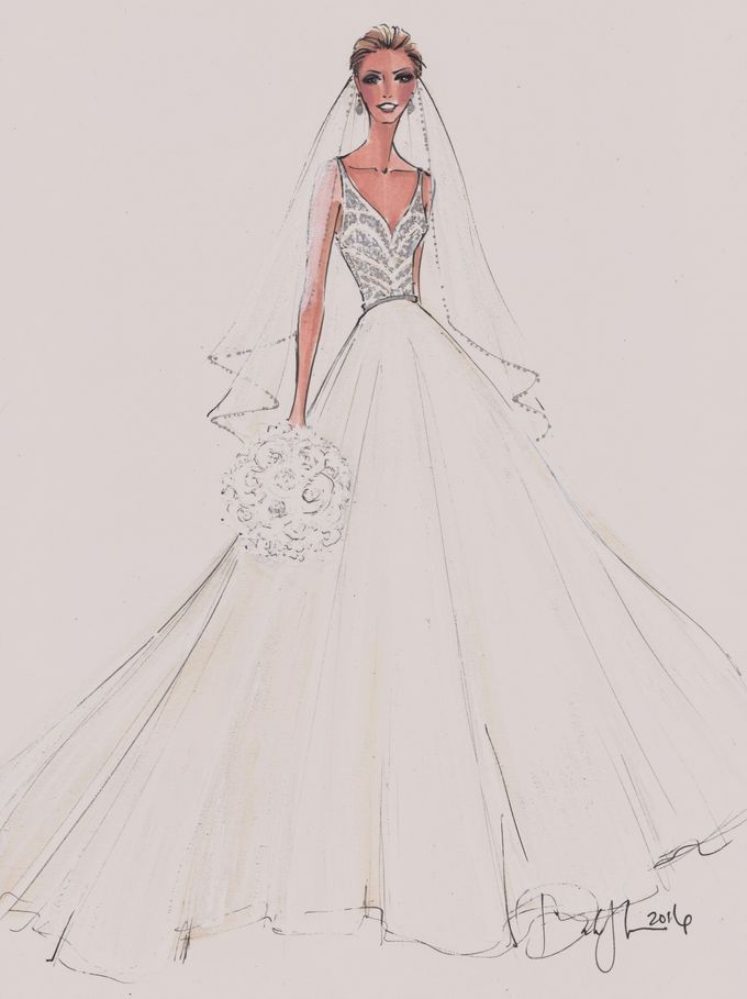 Custom frontals bridal illustration by Illustrative Moments - 002