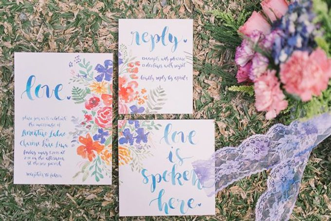 Watercolor and Calligraphy Wedding Invitations by First of April - 007