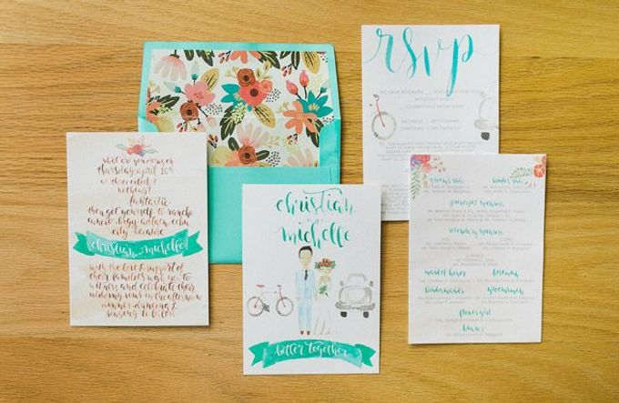 Watercolor and Calligraphy Wedding Invitations by First of April - 009