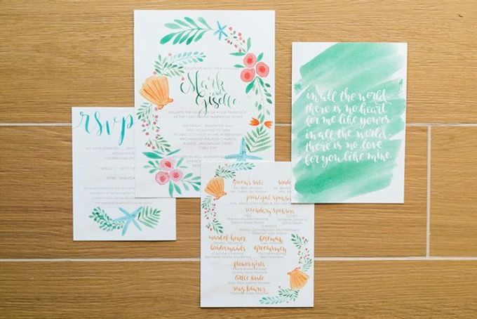 Watercolor and Calligraphy Wedding Invitations by First of April - 008