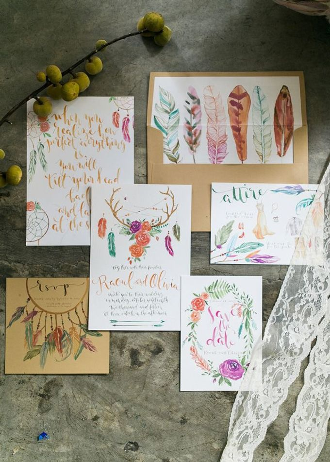 Watercolor and Calligraphy Wedding Invitations by First of April - 010