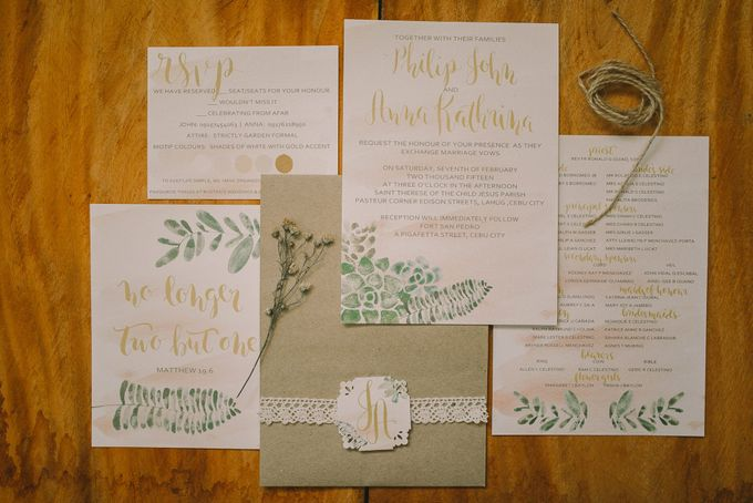 Watercolor and Calligraphy Wedding Invitations by First of April - 005