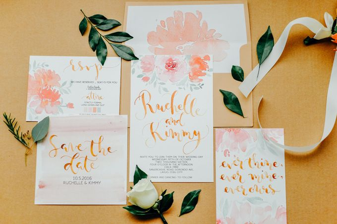 Watercolor and Calligraphy Wedding Invitations by First of April - 012