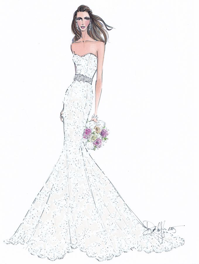 Custom frontals bridal illustration by Illustrative Moments - 019
