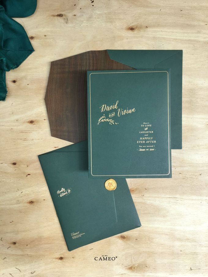 Green Peacock Invitation by Cameo - 002