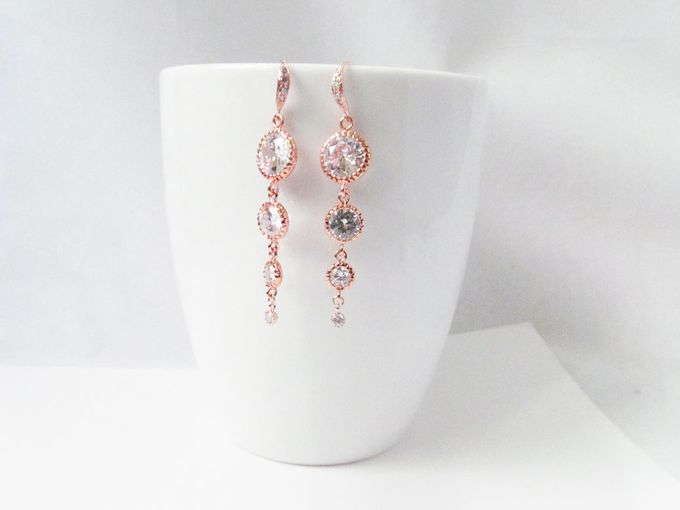 Rose Gold Earrings For Bride - World Wide Shipping by Twixt Designs - 002