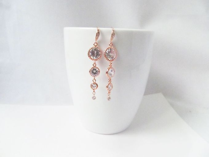 Rose Gold Earrings For Bride - World Wide Shipping by Twixt Designs - 003