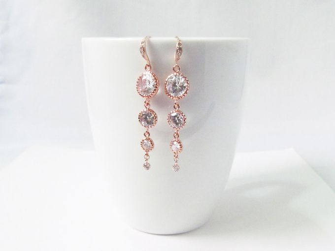 Rose Gold Earrings For Bride - World Wide Shipping by Twixt Designs - 007