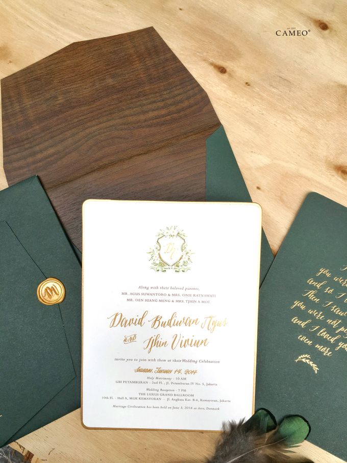 Green Peacock Invitation by Cameo - 003