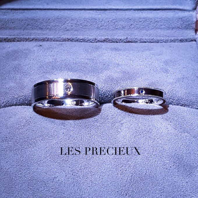 MATCHING SAPPHIRE AND DIAMOND WEDDING BANDS by LES PRECIEUX - 001