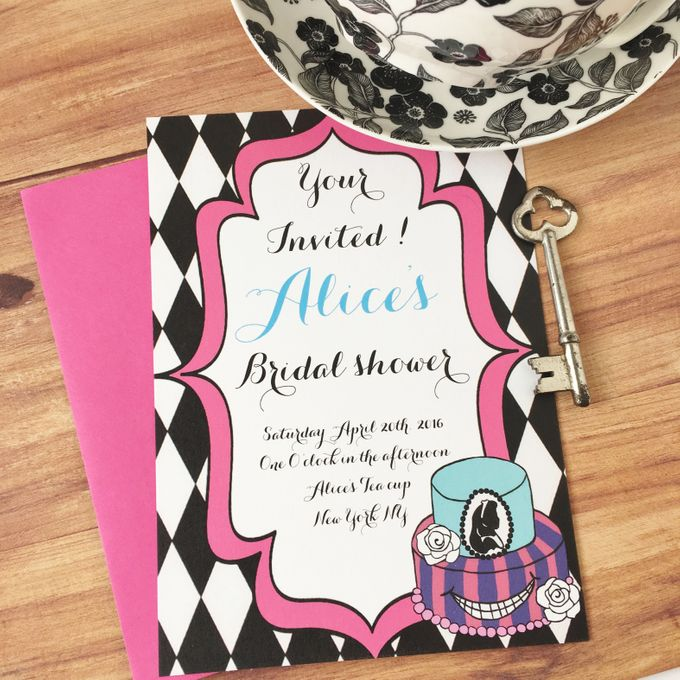 Alice in wonderland bridal shower invitations by Fancy Paperie - 001